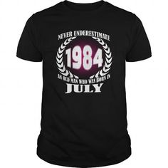 Cool 07 July 1984 Shirts Year never underestimate an old men Shirts Birthday Tshirts Guys tees ladies tees Hoodie youth Sweat Vneck Shirt for Men and Family T shirts