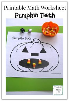 """A simple printable math worksheet like this pumpkin activity """"Pumpkin Teeth"""" is a great math learning tool. The pumpkins head can be used as a  math mat for practicing math facts. #Halloween #preschool #education (repinned by Super Simple Song)"""