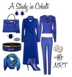 A Study in Cobalt by meesh57 on Polyvore featuring Diane Von Furstenberg, Maison Margiela, STELLA McCARTNEY, Roger Vivier, Hermès and Cristina Sabaiduc