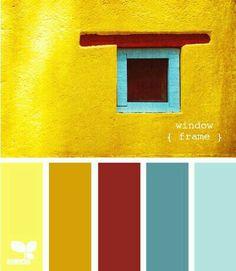 New living room blue yellow red design seeds ideas Design Seeds, Colour Pallette, Colour Schemes, Color Combos, Wall Colors, House Colors, Mexican Colors, Santa Fe Style, Workspace Design