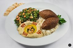Authentic Lebanese Food ~ Kibbeh Plate ~ You can share, but would you? Do Share the Image though. Pita Wrap, Palestinian Food, Lebanese Recipes, Shawarma, Vegetarian Options, Falafel, Hummus, Middle, Menu