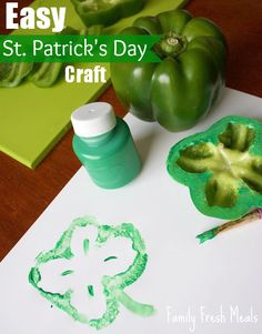 Paint the top of a pepper to make four-leaf clover stamps. Genius!