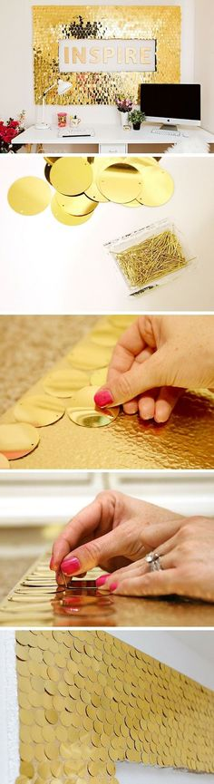 Check out the tutorial: DIY Sequins Wall Art crafts decor - Wall Diy Decor Wall Art Crafts, Diy Wall Art, Diy Wall Decor, Diy Art, Diy Home Decor Projects, Home Crafts, Diy And Crafts, Arts And Crafts, Decor Ideas
