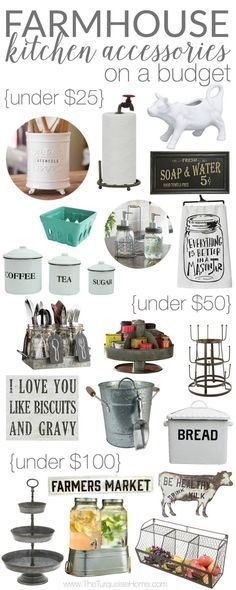 It's ALL adorable!! Farmhouse Kitchen Accessories on a Budget                                                                                                                                                                                 More