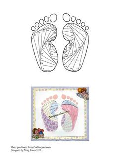 Baby Feet Iris Folding Pattern on Craftsuprint designed by Margaret Jones - Cute pattern for a New Baby Card. - Now available for download!