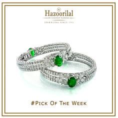 #PickOfTheWeek - A stunning addition to your jewellery box. #HazoorilalBySandeepNarang #Emeralds #Diamonds #FancyCuts #Bangles #ItcMaurya #DlfEmporio #HazoorilalJewellers #hazoorilalgk