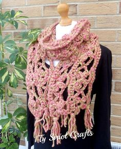 Chunky scarf in rhubarb and custard colours by TySiriolCrafts, £15.00