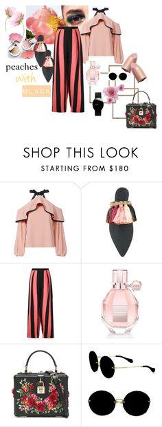 """peaches with black"" by rahmadania ❤ liked on Polyvore featuring Alexis, Sanayi 313, Edeline Lee, Viktor & Rolf, Dolce&Gabbana, Miu Miu, Rado, fashionWeek and fashionset"