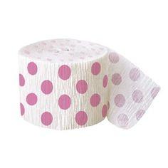 Pink Polka Dot Crepe Streamer Polka Dot Party Supplies PlatesAndNapkins.com