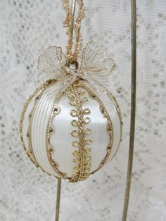 Handmade Christmas Tree Ornament Satin Ball Gold by Bobbyes Hobbies, $14.00