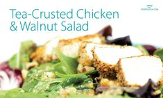 Tea-Crusted Chicken and Walnut Salad Tea Recipes, Snack Recipes, Japanese Bread Crumbs, Chicken Tenderloins, Walnut Salad, Crusted Chicken, Boneless Skinless Chicken, Food Dishes, Main Dishes