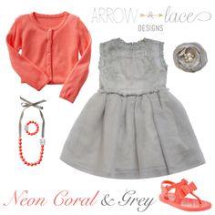 Neon Coral & Grey #arrowandlacelooks