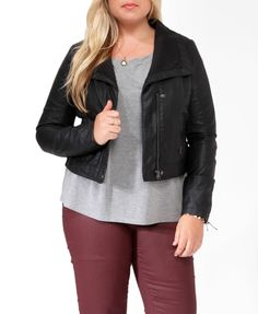 This is the best rick owens-ish jacket I've been able to find in my size. We'll see about the quality.    Paneled Faux Leather Jacket | FOREVER21 PLUS - 2017307357