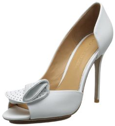 Badgley Mischka Women's Tarian D'Orsay Pump,White Leather,9.5 M US Perforated, folding leather evokes an origami-style bow in this floating platform pump..  #BadgleyMischka #Shoes