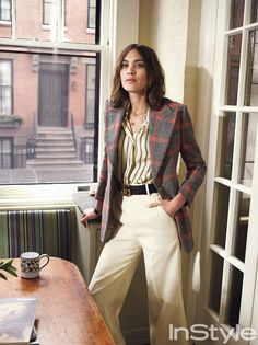 Alexa Chung Tips Her Hat to Annie Hall's Iconic Style - Pattern Play from InStyle.com