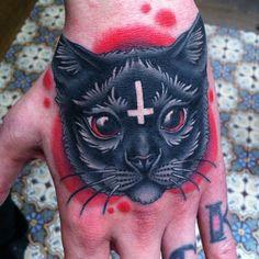 Evil cat tattoo by Megan Massacre Trendy Tattoos, Love Tattoos, Beautiful Tattoos, New Tattoos, Amazing Tattoos, Hand Tattoos, Tattoo Gato, Lucky Tattoo, Black Cat Tattoos