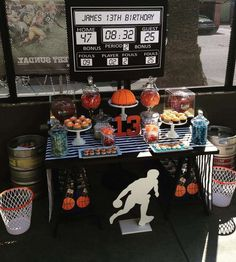 Basketball birthday party dessert table! See more party ideas at CatchMyParty.com!