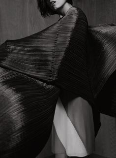 Photographed by Jeff Hahn for Elle UK April 2014, Issey Miyake.