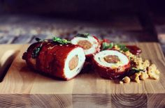 Chicken Roulade with Spicy Chorizo Stuffing and ChickpeaSmash