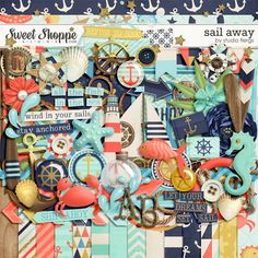 A digital scrapbooking kit by Studio Flergs. Let your dreams set sail with Sail Away. A fun kit full of fabulous nautical themed pieces. Great for summer pages, vacation pages, swimming, the beach...everything! 22 papers, 14 patterned & 8 solid. Shabby wooden alpha (separate letters) and over 60 elements.