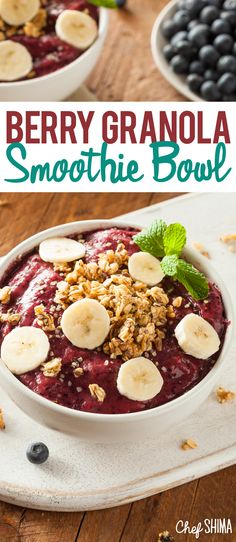 Berry Granola Smoothie Bowl | Love smoothie bowls for breakfast, this is GREAT!