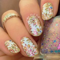 This is Urban Nail Art 'Someone's Crown' topped with Urban Nail Art 'Dreaming' and stamped with Urban Nail Art 'Snow Queen