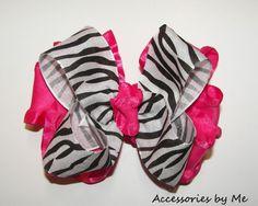 Zebra Shocking Pink Ruffle Girls Hair Bow