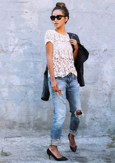 Sincerely Jules dresses up boyfriend jeans with a crochet blouse