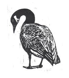 Canadian Goose Woodcut
