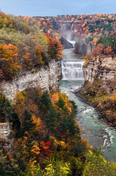 Middle Falls Of Letchworth State Park, New York, USA.   Landscape and waterfall photography by Mark Papke.