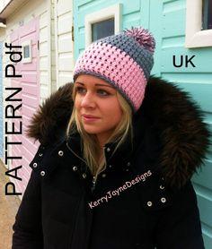 TWO TONE BOBBLE Hat pattern Crochet Hat Pattern Pom pom hat pattern crochet pattern winter hat pattern pompom hat pattern Beanie pattern pdf