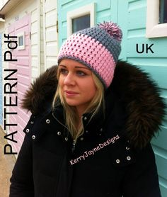 TWO TONE BOBBLE Hat pattern Crochet Hat Pattern Pom pom hat pattern crochet pattern winter hat pattern pompom hat pattern Beanie pattern pdf