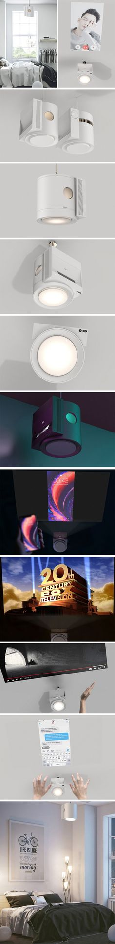 Helion is an ultrashort-through projector that takes the place of the ceiling light usually found above the bed. It projects the screen of the user's device directly onto the ceiling, allowing for a comfortable viewing position. Using gesture controls the user is able to message friends, mindlessly scroll through social media or operate video controls.