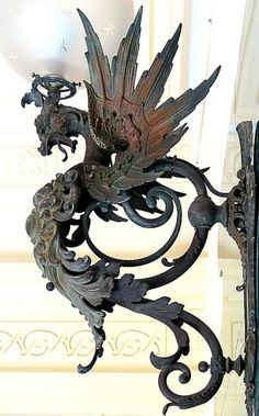 Originally an iron gas lamp in the shape of a dragon. Dragons, Objets Antiques, Door Knobs And Knockers, Sculpture Metal, Iron Work, Dragon Art, Blacksmithing, Metal Art, Decoration