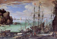 Paul Brill - Ansicht eines Seehafens (71,0 x 50,0 cm)