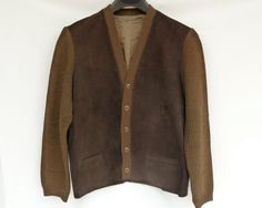 Vintage Brown Suede Front Cardigan   50s / 60s by ModLoungeVintage, $48.00
