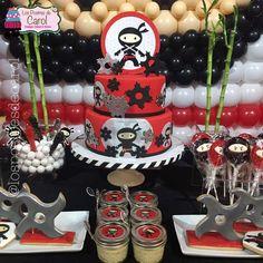 Carolina M's Birthday / Ninja - Photo Gallery at Catch My Party Ninja Birthday Cake, Ninja Cake, Karate Birthday, Ninja Birthday Parties, 8th Birthday, Party Themes, Party Ideas, Ninjago Party, Party Cakes
