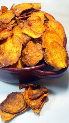 """Sweet Potato Chips with Seasoned Sea Salt I love these... And such a simple DIY Project, hard to believe I don't make them every day. And almost good for you, certainly better than """"ordinary"""" Chips. The Seasoned salt is BACON SALT! but tips for making any seasoned salt in the post. Addictive, bet you can't eat just one!"""