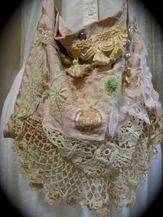 Shabby Pink Purse, dusty pink rose bag, romantic victorian cottage chic, vintage lace doily lace embellished SMALL