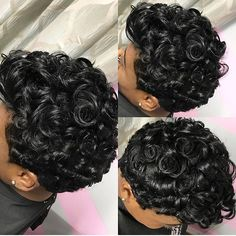 Curls for days➰ Pretty curly pixie by NYC stylist @shannysnaturalbeauty ✂ #voiceofhair voiceofhair.com