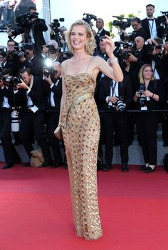 Eva Herzigova wore a custom-made Roberto Cavalli Couture at the 'Ismael's Ghosts' & Opening Gala Red Carpet at the Cannes Film Festival – May 17 2017