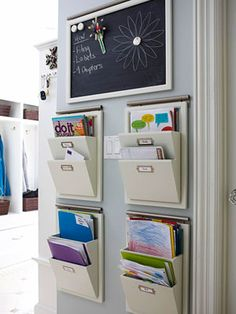avoid a jumbled mess of mail & school papers by setting up a center for each family member. use the area to corral artwork, forms, magazines, homework assignments, as soon as they enter the house. at each week, go through the contents of each box; discard the old material and file away things to keep.