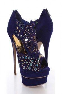 Blue Gold Suede Studded Peep Toe Platform Booties
