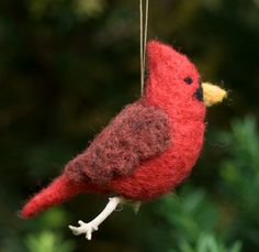 Needle Felted Bird Ornament - Cardinal.