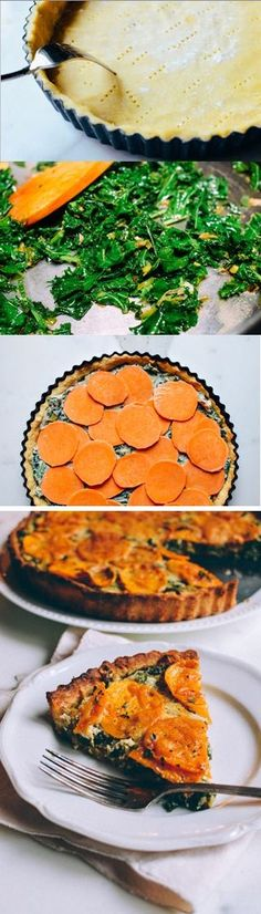 Kale Sweet Potato tart, a new way to use the antioxidant-rich kale, paired with sweet potatoes, cheese, and lovely pastry. Tart Recipes, Side Dish Recipes, Veggie Recipes, Whole Food Recipes, Vegetarian Recipes, Cooking Recipes, Healthy Recipes, Sweet Potato Tart Recipe, Frugal Meals