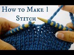 How to Knit If you're knitting a sleeve or shaped fabric, you may see in the pattern. means make 1 stitch. Instead of knitting a stitch and moving it onto the left needle, you'll actually knit into the bar of yarn between Crochet Patterns For Beginners, Knitting For Beginners, Knitting Patterns Free, Free Knitting, Knit Patterns, Knitting Kits, Knitting Ideas, Stitch Patterns, Make One Knitting