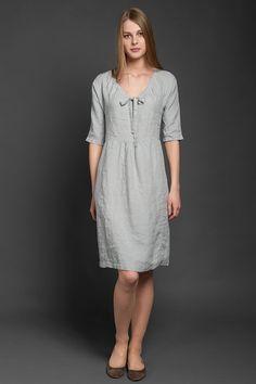 Abito lino grigio, XXL Taglie forti, puro lino Summer Dress, Loose fit 100% lino lino Abito, abito al ginocchio midi