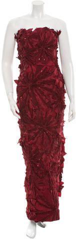 Monique Lhuillier Strapless Floral Gown Floral Gown, Strapless Gown, Monique Lhuillier, Evening Dresses, Sequins, Gowns, Elegant, Stylish, Women