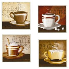 Found it at Wayfair - 4 Piece Espresso, Coffee, Latte, Cappuccino Wall Art Set