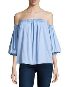 Off-the-Shoulder Stretch-Cotton Blouse, Sky by Milly at Neiman Marcus.
